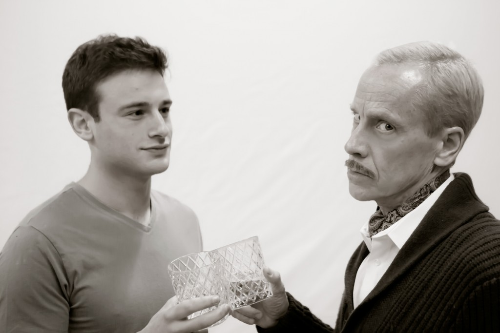 Pictured left to right: Jake Soss as Clifford Anderson and John Fisher* as Sidney Bruhl in Ira Levin' s Classic Thriller DEATHTRAP; A Theatre Rhinoceros Production at The Gateway Theatre; Photo by David Wilson.*Member, Actors' Equity Association.