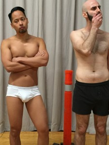Jordan Ong (as Mark, an actor playing Estragon) and Francisco Rodriguez (as Tim, and actor playing Vladamir) in The Underpants Godotby Duncan Pflaster, a Theatre Rhinoceros Pop-Up Production at Spark Arts. Directed by Alan Quismorio.