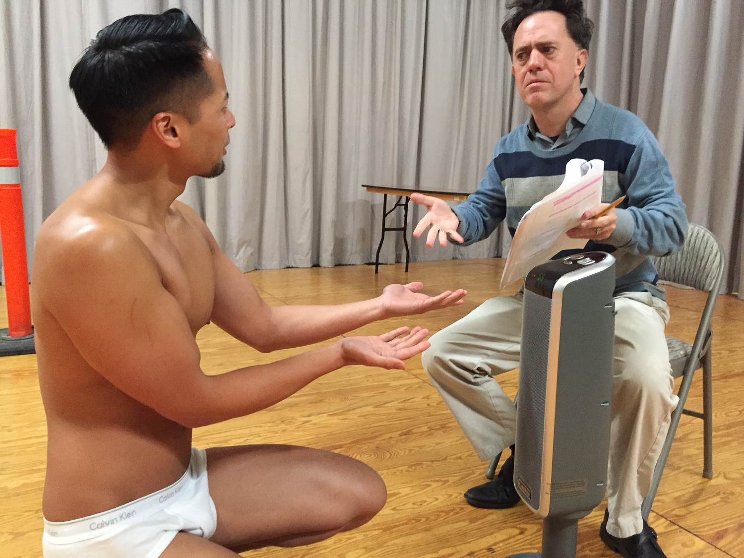 Jordan Ong (as Mark, an actor playing Estragon) and Eric Johnson (playing Doug, a director) in The Underpants Godotby Duncan Pflaster, a Theatre Rhinoceros Pop-Up Production at Spark Arts. Directed by Alan Quismorio.