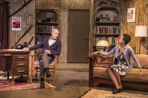 Pictured left to right: John Fisher* as Sidney Bruhl and Desiree M. Rogers as Myra Bruhl in Ira Levin's Classic Thriller DEATHTRAP; A Theatre Rhinoceros Production at The Gateway Theatre; Directed by Jerry Metzker and John Fisher. Photo by David Wilson. *Member, Actors' Equity Association.