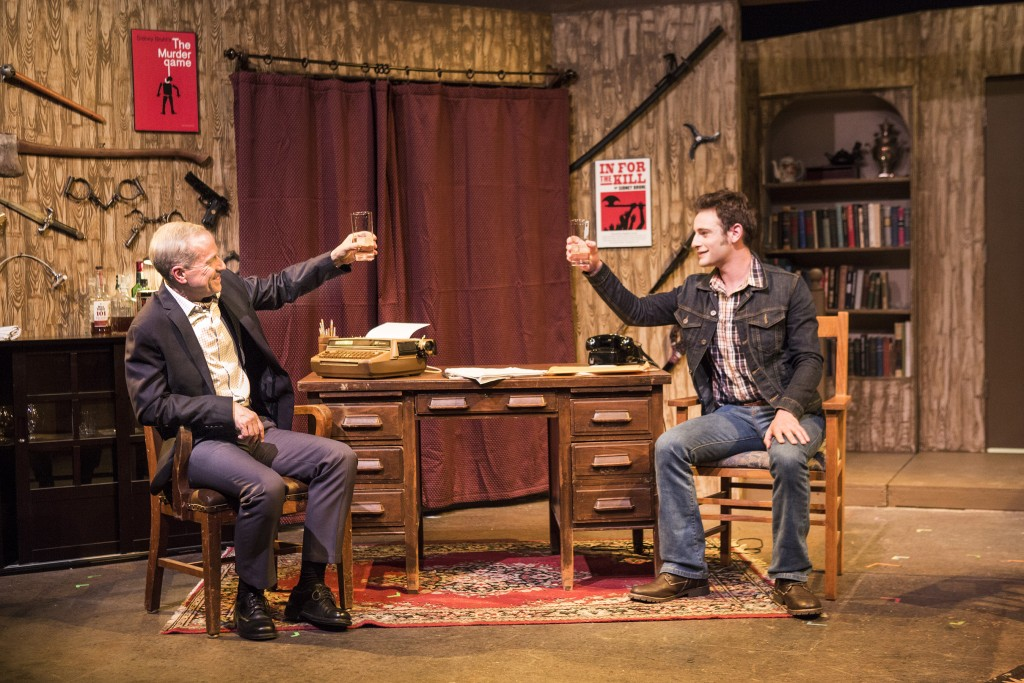 Pictured left to right: John Fisher* as Sidney Bruhl and Jake Soss as Clifford Anderson in Ira Levin's Classic Thriller DEATHTRAP; A Theatre Rhinoceros Production at The Gateway Theatre; Directed by Jerry Metzker and John Fisher. Photo by David Wilson. *Member, Actors' Equity Association.