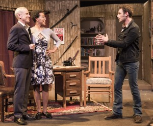 Pictured left to right: John Fisher* as Sidney Bruhl, Desiree M. Rogers as Myra Bruhl and Jake Soss as Clifford Anderson in Ira Levin's Classic Thriller DEATHTRAP; A Theatre Rhinoceros Production at The Gateway Theatre; Directed by Jerry Metzker and John Fisher. Photo by David Wilson. *Member, Actors' Equity Association.