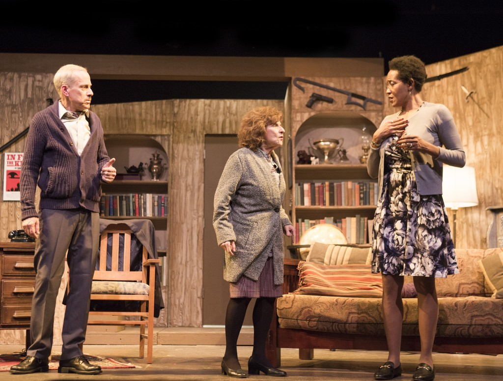 Pictured left to right: John Fisher* as Sidney Bruhl, Anne Hallinan as Helga Ten Dorp and Jake Soss as Clifford Anderson in Ira Levin's Classic Thriller DEATHTRAP; A Theatre Rhinoceros Production at The Gateway Theatre; Directed by Jerry Metzker and John Fisher. Photo by David Wilson. *Member, Actors' Equity Association.