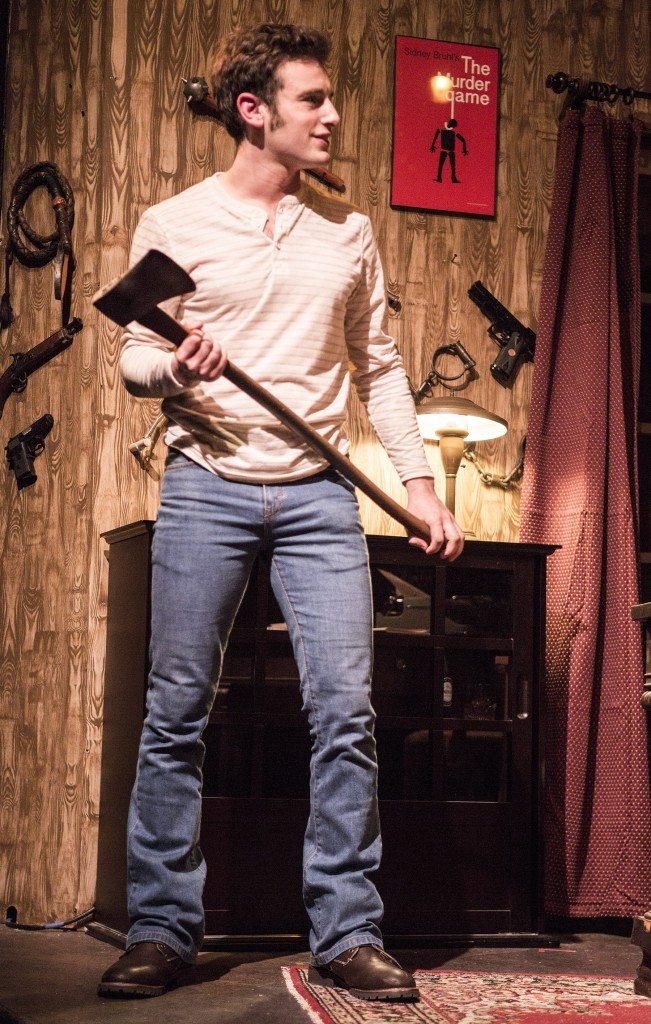 Pictured: Jake Soss as Clifford Anderson in Ira Levin's Classic Thriller DEATHTRAP; A Theatre Rhinoceros Production at The Gateway Theatre; Directed by Jerry Metzker and John Fisher. Photo by David Wilson.