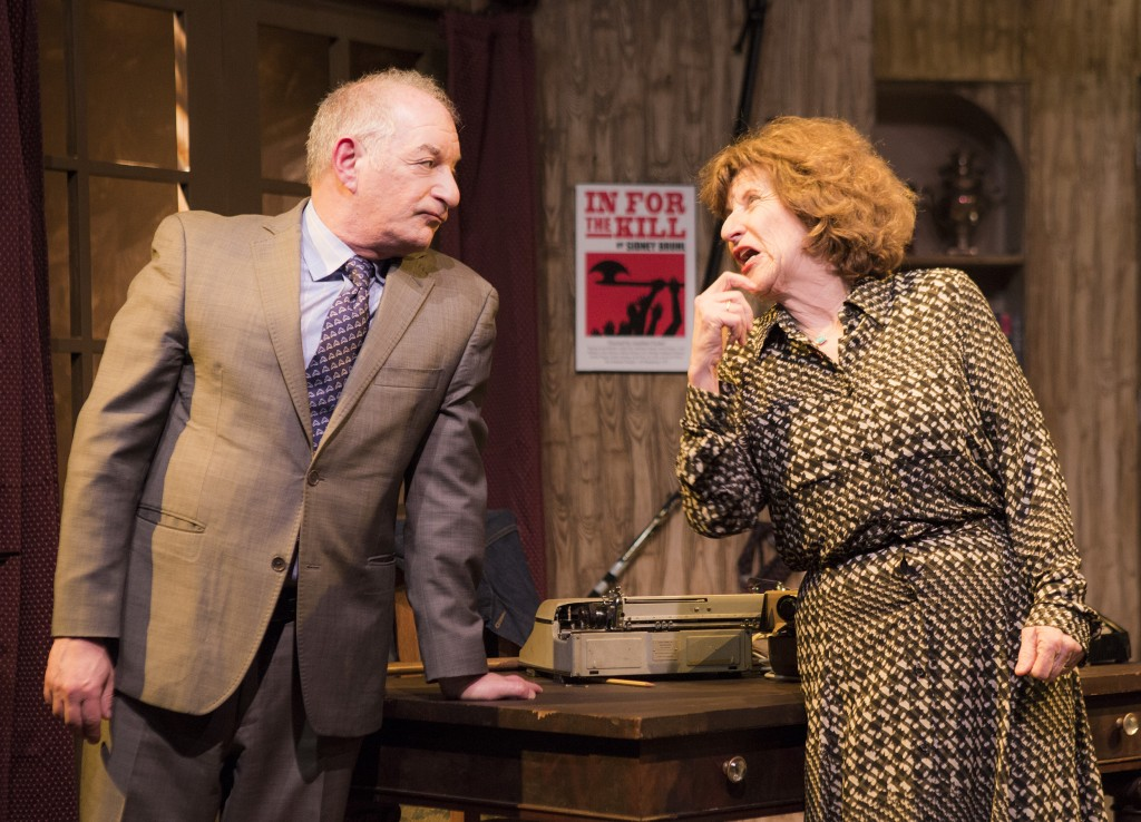 Pictured left to right: Randy Solomon as Porter Milgrim and Anne Hallinan as Helga Ten Dorp in Ira Levin's Classic Thriller DEATHTRAP; A Theatre Rhinoceros Production at The Gateway Theatre; Directed by Jerry Metzker and John Fisher. Photo by David Wilson.