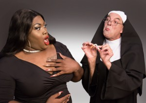 Pictured L to R: Branden Noel Thomas* as Deloris Van Cartier and Kim K. Larsen as the Mother Superior in the Theatre Rhinoceros production of SISTER ACT: THE MUSICAL, directed and choreographed by AeJay Mitchell; at the Gateway Theater. Photo by David Wilson.