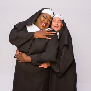Pictured L to R: Branden Noel Thomas* as Deloris Van Cartier and Kim K. Larsen as the Mother Superior in the Theatre Rhinoceros production of SISTER ACT: THE MUSICAL, directed and choreographed by AeJay Mitchell; at the Gateway Theater. Photo by David Wilson. *Member, Actors' Equity Association