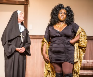 Pictured L to R: Kim Larsen as Mother Superior and Branden Noel Thomas* and Paul Lopez as Mary Theresa as Deloris in SISTER ACT, directed by AeJay Mitchell. A Theatre Rhinoceros Production at the Gateway Theatre. *Member Actors' Equity Association