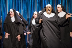 L to R: Anna Smith as Mary Patrick, Dee Wagner as Mary Lazarus, Branden Noel Thomas* and Paul Lopez as Mary Theresa as Deloris in SISTER ACT, directed by AeJay Mitchell. A Theatre Rhinoceros Production at the Gateway Theatre. *Member Actors' Equity Association
