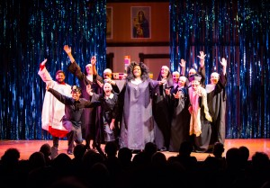 The Cast of SISTER ACT, directed by AeJay Mitchell. A Theatre Rhinoceros Production at the Gateway Theatre.