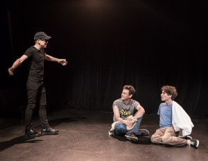 8449 Pictured L to R: John Fisher* as Clark Tail, Jake Soss as Cranston, and Gabriel A. Ross as Jason in John Fisher's ACTION HERO; A Theatre Rhinoceros Production at The Phoenix Theatre. Photo by David Wilson. *Member, Actors' Equity Association
