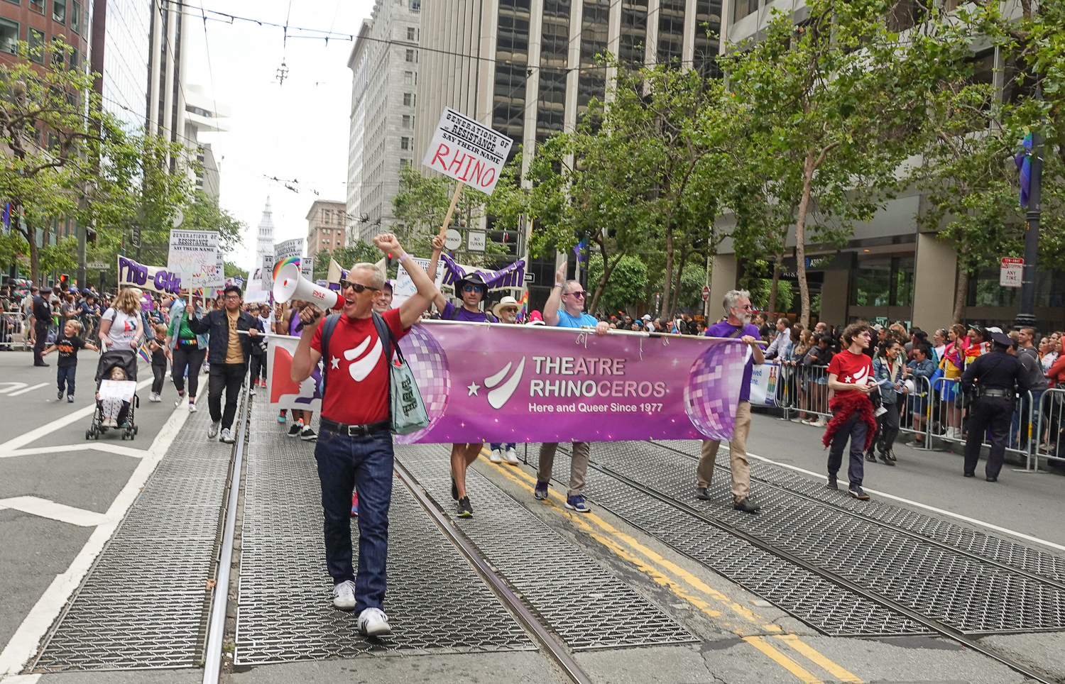 In recognition of our five decades of producing provocative theatre, The Rhino was a part of the Resist Contingent of the 2019 Pride Parade. Photo: Paul Margolis, OurTownSF