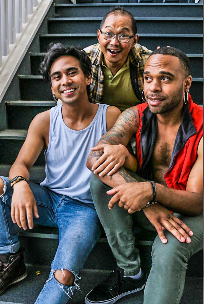 L-R, Earl Alfred Paul (Danny), Alan Quismorio (above, Arnel), and Stephen Minor (Qulie) in DRIVEN