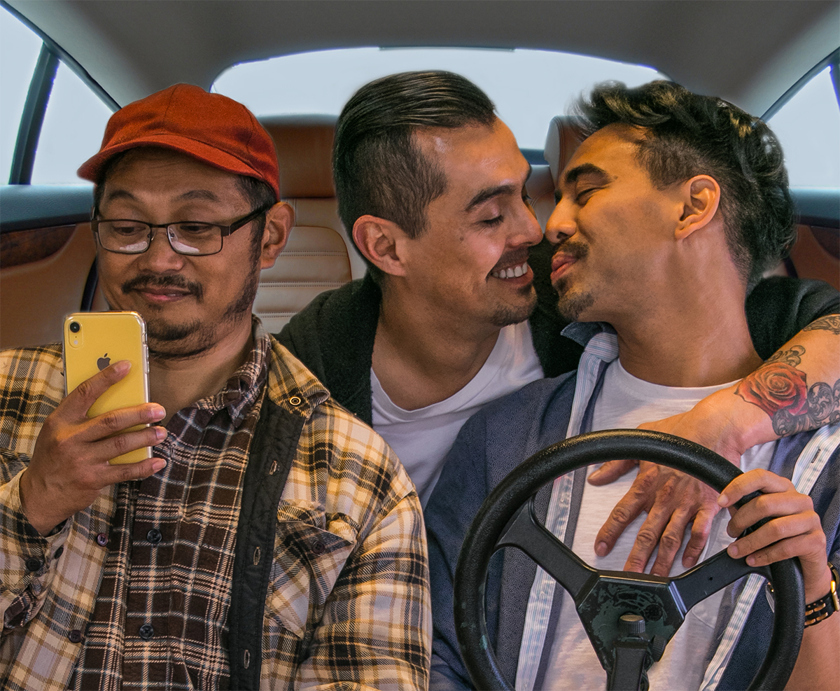 L-R, Alan Quismorio, Hector Zavala, and Earl Paus in DRIVEN. Photo credit: Vince Thomas.