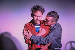 (L to R) Earl Paus (as Danny)and Hector Ramon Zavala (Qulie) in DRIVEN, by Boni Alvarez. A production by Theatre Rhinoceros at Spark Arts, running through November 17.