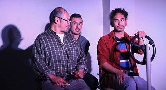 (L to R) Alan S. Quismorio (as Arnel), Hector Ramon Zavala (Qulie), and Earl Paus (Danny) in DRIVEN, by Boni Alvarez. A production by Theatre Rhinoceros at Spark Arts, running through November 17