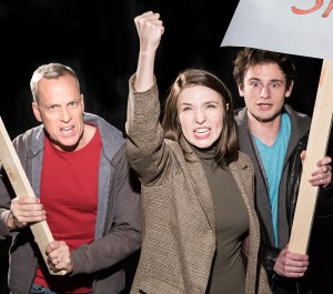 John Fisher* as Jack, Polly Levi as Diana, and Jacob Soss as Plant in RADICAL
