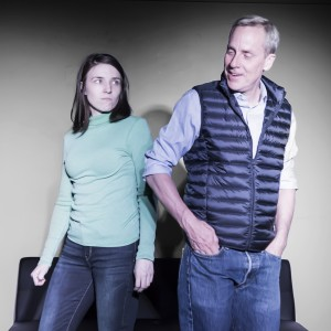 Pictured left to right: Polly Levi as Diana and John Fisher* as Jack in RADICAL, written and directed by John Fisher. A Theatre Rhinoceros Production at Spark Arts. Photo by David Wilson. *Member, Actors' Equity Association