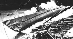Vintage picture of sinking submarie