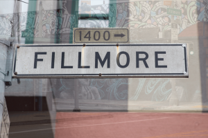 Fillmore street sign with overlay of building art